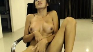 Asian Shemale Solo at her Home Jerking
