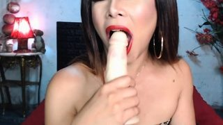 Solo Shemale Rubbing Her Asian Cock